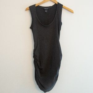 Scoop Neck Ruched Long Length Black Tank